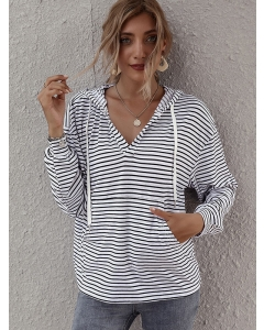 Dresswel Women Stripe Printed V Neck Long Sleeve Pocket Loose Hoodies Tops