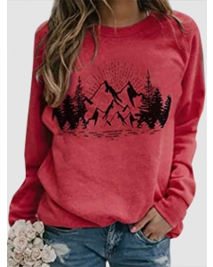 Dresswel Women Landscape Pattern Print Crew Neck Long Sleeve Sweatshirt Top