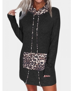 Dresswel Women Leopard Print Kangaroo Pocket Splicing High Neck Drawstring Mini Dress