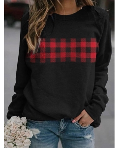 Dresswel Women Red And Black Checkered Printed Solid Color Pullover Sweatshirts Tops