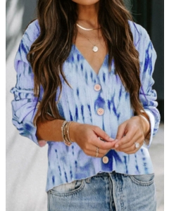 Dresswel Women Tie Dye Printed Long Sleeve Buttons V Neck Knitted Cardigan Tops