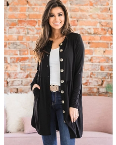 Dresswel Women Solid Color Long Sleeve Buttons V Neck Knitted Cardigan Tops