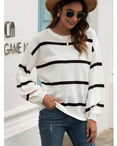 Dresswel Women Color Block Stripe Round Neck Casual Long Sleeve Knit Pullover Sweater Top