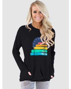 Dresswel Women Dont Forget To Give Thanks Printed Pocket Thanksgiving Sweatshirt Tops