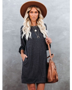 Dresswel Women Solid Color Pocketed Knitted Long Sleeve Grey Sweater Mini Dress