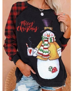 Dresswel Women Merry Christmas Letter Print Plaid Long Sleeves Sweatshirt Top