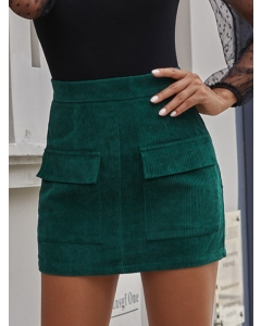 Dresswel Women Solid Color Flap-Pocket Corduroy High Waist Bodycon Mini Skirt