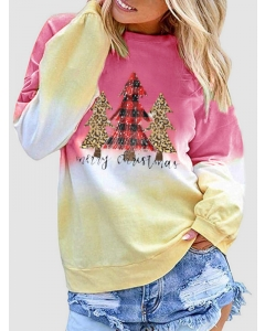 Dresswel Women Merry Christmas Letter Tree Printed Crew Neck Holiday Sweatshirts Tops
