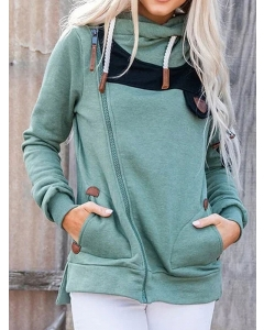 Dresswel Women Irregular Zipper Cowl Neck Long Sleeve Pockets Drawstring Colorblock Sweatshirts Tops