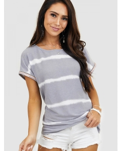 Dresswel Women Heather Grey Tie Dye Top With Embroidered On Sleeves T-shirts Tops