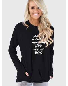 Dresswel Women Just A Mama In Love With Her Boy Letter Printed Long Sleeve Sweatshirt Tops