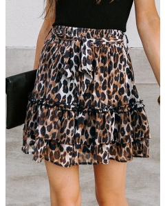 Dresswel Women Leopard Print Tiered High Waist Chiffon Flowy Mini Skirt