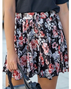 Dresswel Women Floral Print Pleated Elastic Waist Casual Summer A Line Mini Skirt