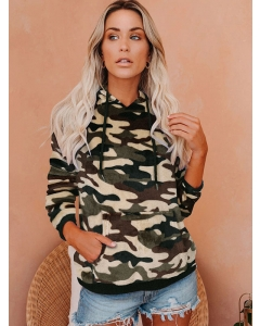 Dresswel Women Camouflage Printed Long Sleeve Drawstring Pocket Casual Stylish Hoodies Tops