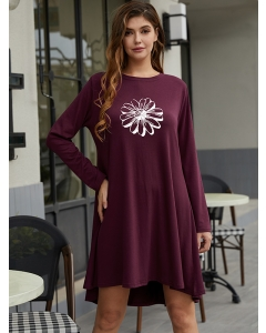 Dresswel Women Sunflower Graphic Printed Crew Neck Long Sleeves Casual Mini Dress
