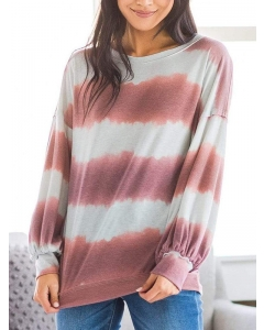 Dresswel Women Tie Dye Printed Crew Neck Long Sleeve Loose Relaxed Stylish Blouse Tops