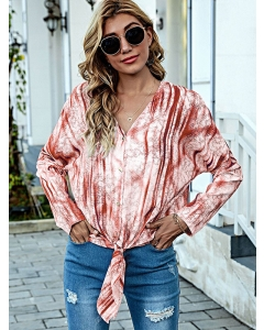Dresswel Women Tie-dyed Print Gradient Buttons Knotted Hem V Neck Cardigan Blouse Tops