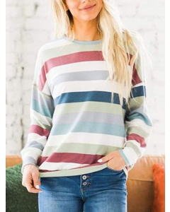 Dresswel Women Multicolor Striped Pullover Tees Contrast Colorblock T-shirt Tops