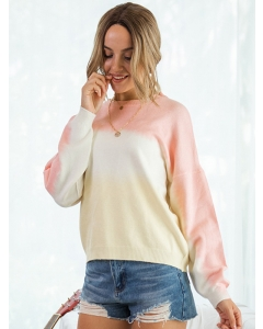 Dresswel Women Gradient Crew Neck Long Sleeve Stylish Loose Pullover Sweater Tops