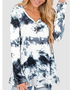 Dresswel Women Tie Dye Printed Long Sleeve V Neck Buttons Pullover Loose Fit Blouse Tops