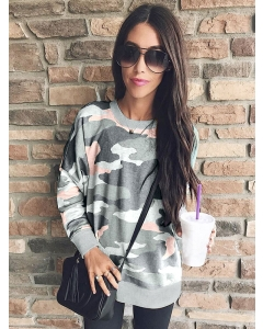Camouflage Frint Long Sleeve Round Neck Pullover T-Shirt For Women