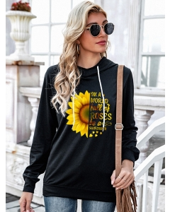 Dresswel Women Sunflower Letter Printed Floral Pattern Long Sleeve Pullover Hoodie Tops