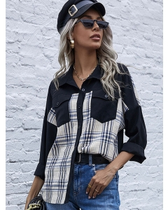 Dresswel Women Plaid Single-Breasted Pocket Stitching Lapel Collar Shirt Blouse Tops