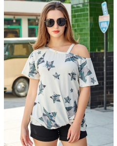 Dresswel Women Latte Camo Star Print One Cold Shoulder Top With Twist Blouse Tops