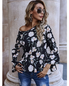 Dresswel Women Floral Print Flare Sleeves Splicing Hem O Neck Pullover Blouse Tops