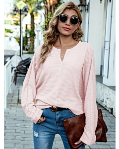 Dresswel Women Solid Color V Neck Long Sleeve Casual Pullover Loose Knitted Blouse Tops