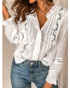 Dresswel Women Solid Color Buttons Hollow Out Lace Inserts V Neck Blouse Tops