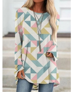 Dresswel Women Contrast Color Geometric Print Long Sleeves Pullover T-Shirt Tops