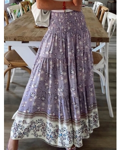 Dresswel Women Bohemian Floral Print Smocking High Waist Tiered A-Line Maxi Skirt