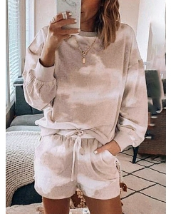 Dresswel Women Tie Dye Crew Neck Long Sleeve Top Shorts Set Home Wear Loungewear Tops