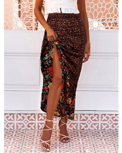 Dresswel Women Floral Print Ruched High-Low Hem High Waist Bodycon Maxi Skirt
