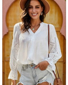 Dresswel Women Solid Color Buttons V Neck Cutout Long Flare Sleeve Loose Fit Blouse Tops