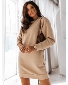 Dresswel Women Solid Color Cutout Back Crew Neck Long Sleeve Sweatshirt Mini Dress