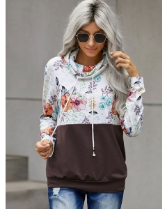 Dresswel Women Floral Print Color Block Patchwork Long Sleeve Pullover Sweatshirt Tops