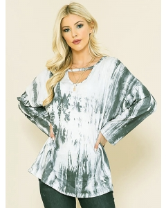 Dresswel Women Tie Dye Printed V Neck Long Sleeve Loose Casual Pullover Blouse Tops