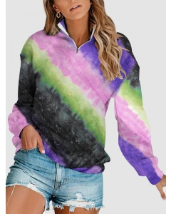 Dresswel Women Tie Dye Printed Gradient Color Block V Neck Zipper Up Sweatshirts Tops