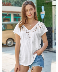 Dresswel Women Embroidered Eyelet Hollow out Knit T-shirt Tops