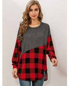 Dresswel Women Plaid Print Contrast Color Side Split Hem O Neck Tunic T-Shirt Tops