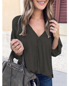Dresswel Women Solid Color Deep V Neck Long Puff Sleeve Pleated Casual Blouse Tops