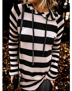 Dresswel Women Striped Color Block Long Sleeve Hooded Sweatshirt Hoodies Tops