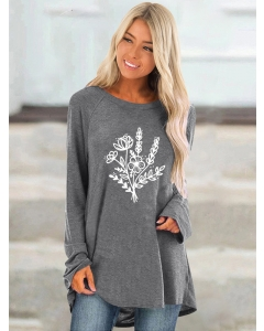 Dresswel Women Flower Graphic Printed Crew Neck Long Sleeve Loose Casual Blouse Tops