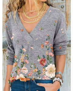 Dresswel Women Floral Print V-neck Long Sleeve Relaxed Fit Casual T-shirt Tops