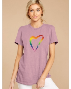 Dresswel Women Rainbow Color Paint Heart Graphic Printed Crew Neck T-shirts Tops