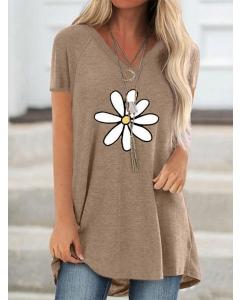 Dresswel Women Floral Print V Neck Short Sleeves Loose Pullover Tunic T-Shirt Tops