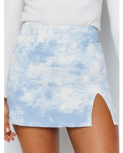 Dresswel Women Tie-Dyed Print Side Split High Waist Bodycon Mini Skirt