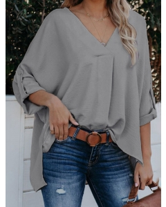 Dresswel Women Solid Color V-neck Roll-Tab Long Sleeve High Low Hem Loose Blouse Tops